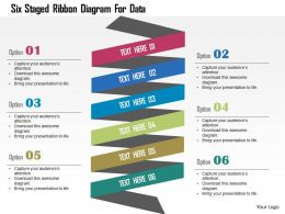 Six Staged Ribbon Diagram For Data Flat Powerpoint Design