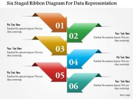 Six Staged Ribbon Diagram For Data Representation Powerpoint Template