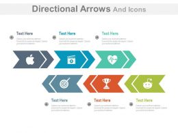 Six Staged Same Directional Arrows And Icons For Business Target Analysis Flat Powerpoint Design