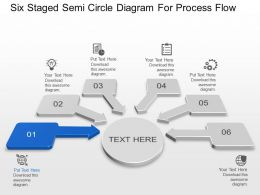 Six Staged Semi Circle Diagram For Process Flow Powerpoint Template Slide