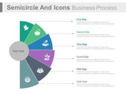 Six Staged Semicircle And Icons Business Process Flow Flat Powerpoint Design