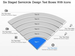 Six Staged Semicircle Design Text Boxes With Icons Powerpoint Template Slide