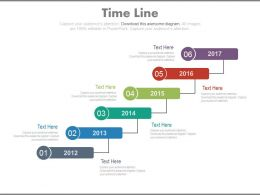 Six Staged Sequential Timeline With Years Powerpoint Slides