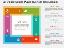 Six Staged Square Puzzle Business Icon Diagram Flat Powerpoint Design
