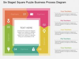 Six Staged Square Puzzle Business Process Diagram Flat Powerpoint Design