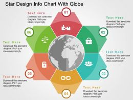 Six Staged Star Design Info Chart With Globe Ppt Presentation Slides