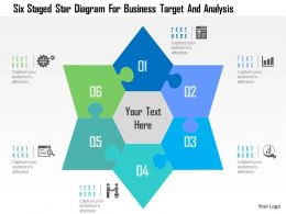 Six Staged Star Diagram For Business Target And Analysis Flat Powerpoint Design