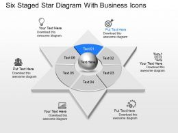 Six Staged Star Diagram With Business Icons Powerpoint Template Slide