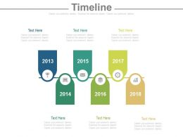 Six Staged Tag Timeline With Years Powerpoint Slides