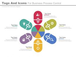 Six Staged Tags And Icons For Business Process Control Flat Powerpoint Design