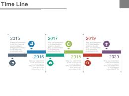 Six Staged Tags And Years For Business Timeline Powerpoint Slides