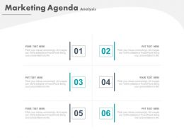 Six Staged Tags For Marketing Agenda Analysis Powerpoint Slide