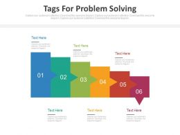 Six Staged Tags For Problem Solving Flat Powerpoint Design