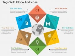 Six Staged Tags With Globe And Icons Ppt Presentation Slides