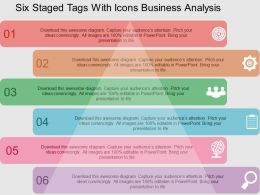 Six Staged Tags With Icons Business Analysis Flat Powerpoint Design