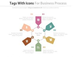 six_staged_tags_with_icons_for_business_process_flat_powerpoint_design_Slide01