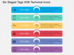 Six Staged Tags With Technical Icons Flat Powerpoint Design
