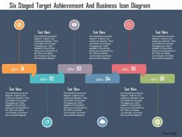 Six Staged Target Achievement And Business Icon Diagram Flat Powerpoint Design