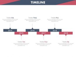 Six Staged Timeline For Business Agenda Powerpoint Slides