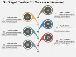 Six Staged Timeline For Success Achievement Flat Powerpoint Desgin