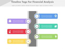 Six Staged Timeline Tags For Financial Analysis Flat Powerpoint Design