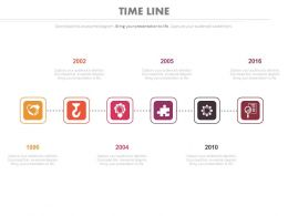 Six Staged Timeline Year Based Analysis Powerpoint Slides
