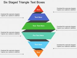 Six Staged Triangle Text Boxes Flat Powerpoint Design
