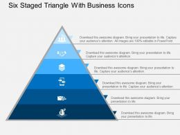 Six Staged Triangle With Business Icons Flat Powerpoint Design
