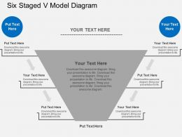 Six Staged V Model Diagram Flat Powerpoint Design