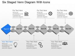Six Staged Venn Diagram With Icons Powerpoint Template Slide