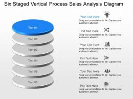 Six Staged Vertical Process Sales Analysis Diagram Powerpoint Template Slide