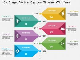 Six Staged Vertical Signpost Timeline With Years Flat Powerpoint Design