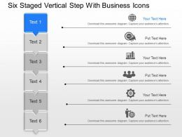 Six Staged Vertical Step With Business Icons Powerpoint Template Slide