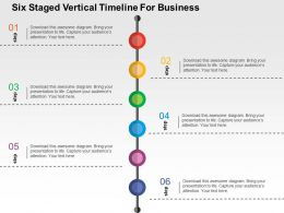 Six Staged Vertical Timeline For Business Flat Powerpoint Design