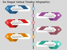 Six Staged Vertical Timeline Infographics Flat Powerpoint Design