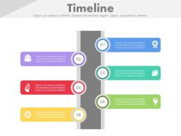Six Staged Vertical Timeline with Tags Powerpoint Slides