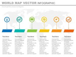 Six Staged World Map Tags And Icons Powerpoint Slides