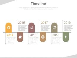 Six Staged Year Based Timeline For Business Target Powerpoint Slides