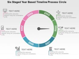 Six Staged Year Based Timeline Process Circle Flat Powerpoint Design