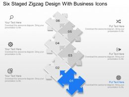Six Staged Zigzag Design With Business Icons Powerpoint Template Slide