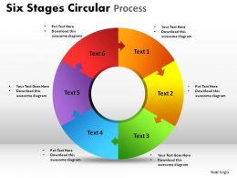 Six Stages Circular Process Powerpoint Slides