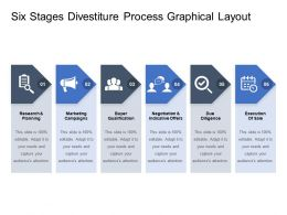 Six Stages Divestiture Process Graphical Layout
