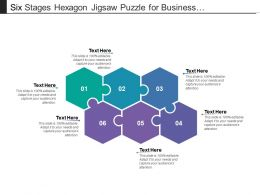 Six Stages Hexagon Jigsaw Puzzle For Business Presentation