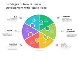 Six Stages Of New Business Development With Puzzle Piece