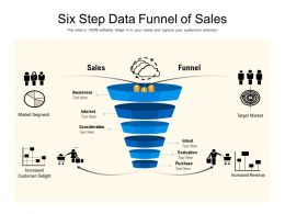 Six Step Data Funnel Of Sales