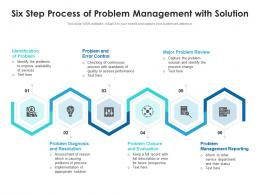 Six Step Process Of Problem Management With Solution