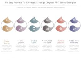 Six Step Process To Successful Change Diagram Ppt Slides Examples
