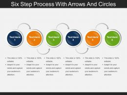 Six Step Process With Arrows And Circles