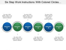 Six Step Work Instructions With Colored Circles And Lines