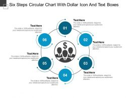 Six Steps Circular Chart With Dollar Icon And Text Boxes